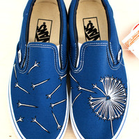 Hand Painted Dandelion on Navy Vans Slip Ons