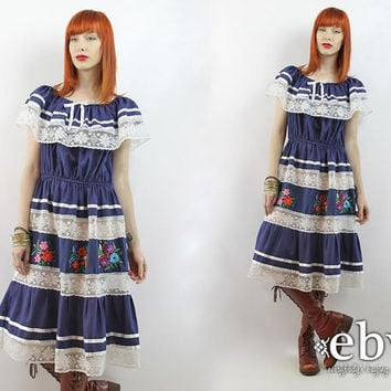 Vintage 70s Navy Embroidered Mexican Dress S M L Navy Mexican Dress Embroidered Dress Hippie Dress Hippy Dress Boho Dress Festival Dress
