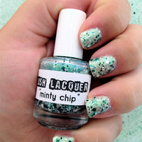 Minty Chip  CustomBlended Glitter Nail Polish / by lushlacquer