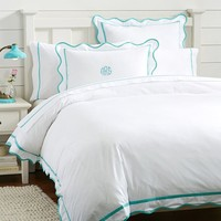 Vienna Scallop Duvet Cover + Sham, Pool