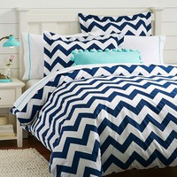 Chevron Duvet Cover + Sham, Royal Navy