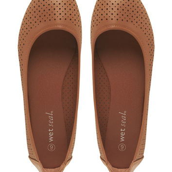 Perforated Ballet Flats   Wet Seal