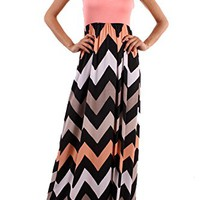 Small Black White Peach Coral Pink Gray Chevron Zig Zag Racerback Maxi Dress Boutique