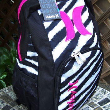 HURLEY Girls Zebra Pink Animal Print School Backpack Book Bag NWT