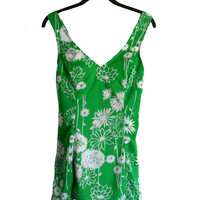 Vintage Swimsuit Green and White Floral One Piece Dress Style- Buttoned Adjustable Straps - Size 16