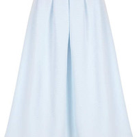 Blue Quilted Full Midi Skirt