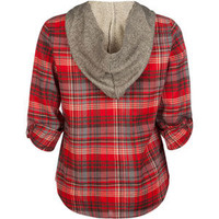 MIMI CHICA Plaid Girls Hooded Flannel Shirt