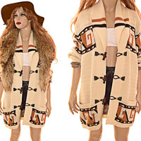 70s Boho Shawl Cardigan Oversized Southwestern Native Inspired Cream and Brown Unisex L XL