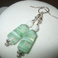 NEW Sea Foam Swirls - Light Green and White Swirled Glass Earrings | DesignsByAmyB - Jewelry on ArtFire