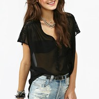 Crochet Pocket Tee in Black
