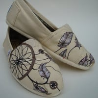 Dream catchers all natural hand painted on TOMS by ArtfulSoles