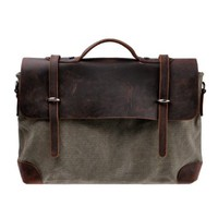 "Zlyc Men's Genuine Leather and Canvas Business Briefcase Handbag 15.6"" Laptop Bag Messenger Bag Color Army Green"
