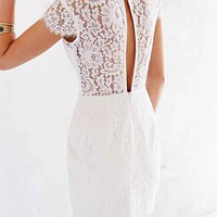 Keepsake Run The World Lace-Top Shift Dress-