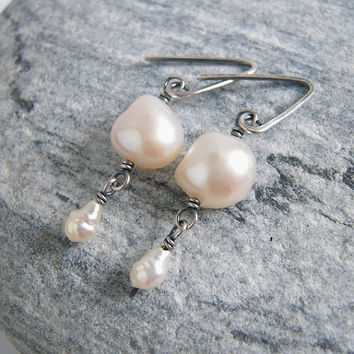 Dangle Earrings White Pearl Oxidized Silver, Freshwater Pearl Bridal Jewelry, Something Old