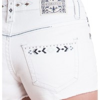 Premium Crafted Hydraulic Soho Short- High rise zip fly stretch jean 5 pocket with embroidery Az