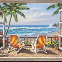 Tropical Terrace for Two Stretched Canvas Print by Sung Kim at Art.com