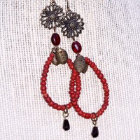 Handmade Burnt Sienna Seed Bead Sunflower Dangle Earrings | peaceloveandallthingsjewelry - Jewelry on ArtFire