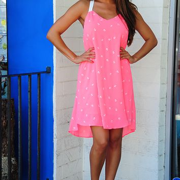 Sailing Around Dress: Pink