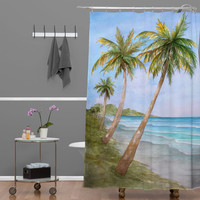 Rosie Brown Swaying Palms Shower Curtain