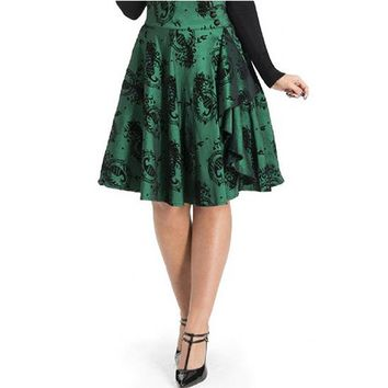 "Women's ""Peacock Flocked Taffeta"" Flair Skirt by Voodoo Vixen (Green)"