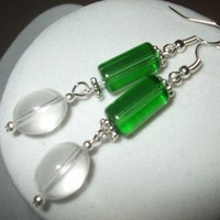NEW Verdigis - Green and Crystal Transparent Glass Long Earrings | DesignsByAmyB - Jewelry on ArtFire
