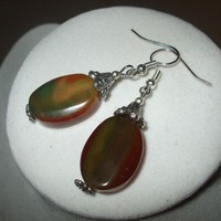 NEW In Flamed - Fiery Dyed Agate Stone Earrings | DesignsByAmyB - Jewelry on ArtFire