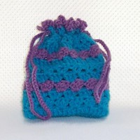 Striped Drawstring Gadget Bag Crochet Turquoise Blue Purple Accessory