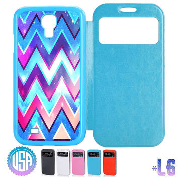 USA Galaxy Star Chevron Pattern Flip Leather Cover @ IPhone 5S case , Samsung Galaxy S4 / S3 , Note 3 / Note 2 , IPhone 5 , IPhone 4 4S #L6
