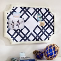Scallop Framed Monogram Pinboard, Ribbon Geo, Navy