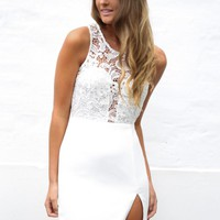White crochet bodycon slit dress