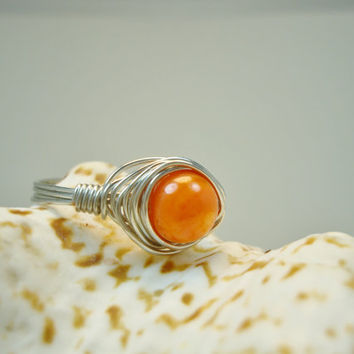 Wire Wrap Ring, Orange, Size 9