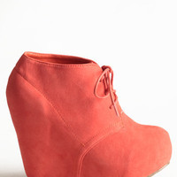 Coral Collaboration Wedge Bootie - &amp;#36;45.00 : ThreadSence.com, Your Spot For Indie Clothing &amp; Indie Urban Culture