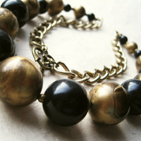 Black & Bronze Vintage Necklace by PiggleAndPop