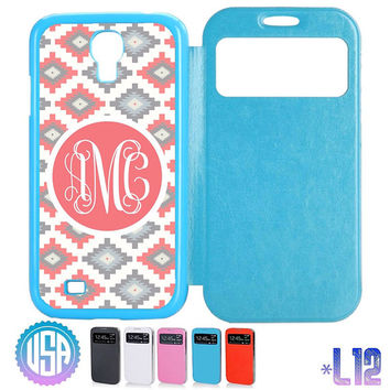 Custom Monogram Aztec Tribal Pattern Flip Leather Cover @ Samsung Galaxy S4 case S3 , Samsung Note 3 Note 2 , IPhone 5 5S , IPhone 4 4S L12