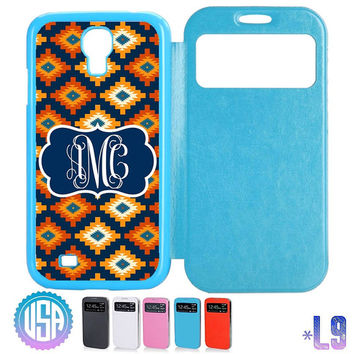 Custom Monogram Aztec Tribal Pattern Flip Leather Cover @ Samsung Galaxy S4 case S3 , Samsung Note 3 Note 2 , IPhone 5 5S , IPhone 4 4S L9