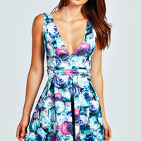 Leah Rose Plunge Skater Dress