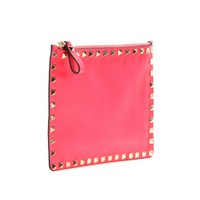 Rockstud leather clutch