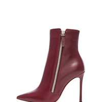 Leather Pointed Ankle Leather Boots in Burgundy