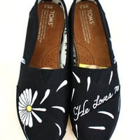Custom Hand Painted Daisy Toms - He Loves Me...