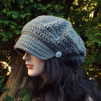 Concrete Gray Newsboy Hat - Womens Crochet Cap  - Ladies Hat with Visor Brim - Chunky Hat