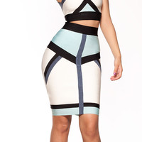 Clothing : Bandage Dresses : 'Tyler' White and Aqua Bandage Two Piece Set