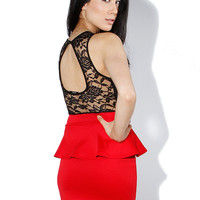 Papaya Clothing Online :: LACY PEPLUM DRESS