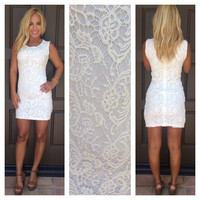 Selena Crochet Lace Bodycon Dress - WHITE