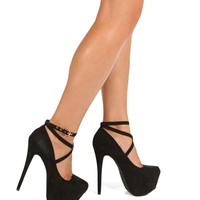 Black Cross Ankle Strap Heels