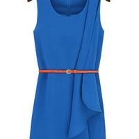 Front Overlaid Sleeveless Belted Dress - OASAP.com