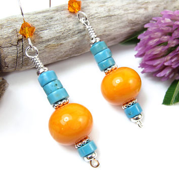 Orange Lampwork Turquoise Howlite Earrings Sterling Silver Jewelry