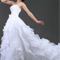 Buy discount Gorgeous Satin& Organza Satin  A-Line Strapless Neckline Wedding Dress With Buckle at dressilyme.com