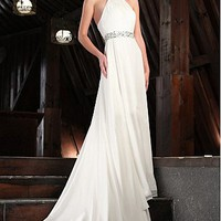 Buy discount Gorgeous Chiffon & Satin  A-Line Halter  Neckline Wedding Dress With Beadings at dressilyme.com