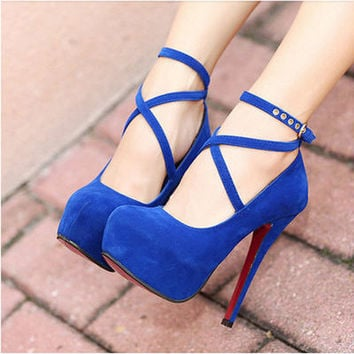 Sexy Unique OL Womens Work Royal Blue Ankle Strap Prom Party  High Heels Shoes