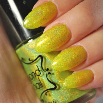 Star Cluster Lime Green Jelly with Glitter Nail Polish